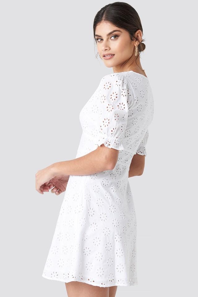 Cotton Anglaise Mini Dress White