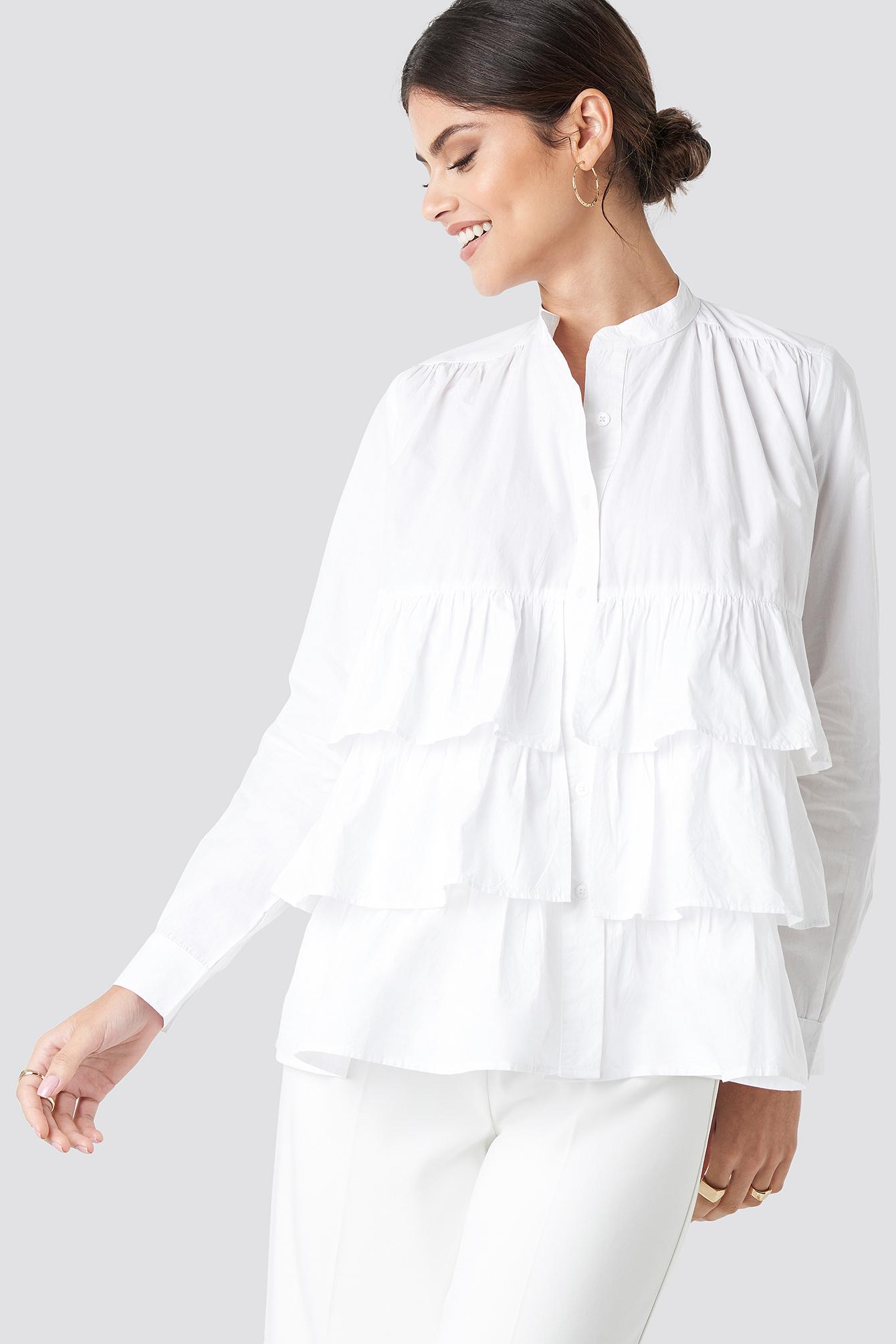 na-kd boho -  Cotton Flounce Blouse - White
