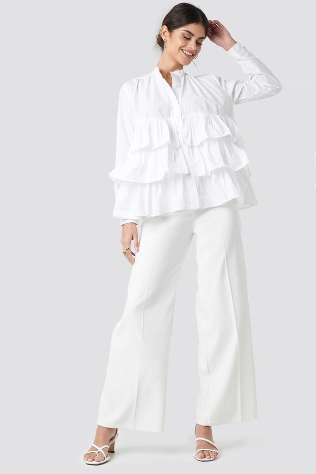 Cotton Flounce Blouse White