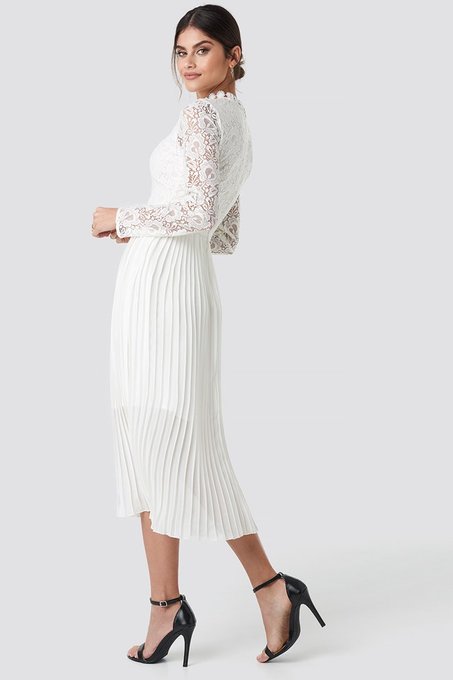 Crochet Detail Pleated Dress White