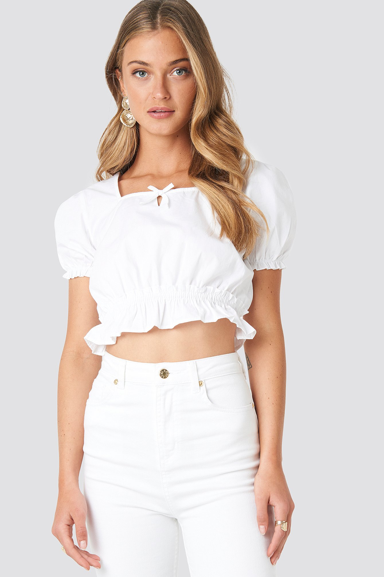 na-kd boho -  Cropped Frill Short Sleeve Top - White