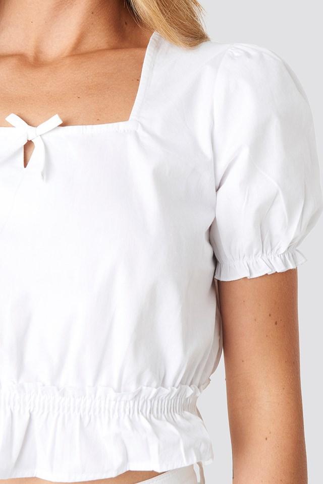 Cropped Frill Short Sleeve Top NA-KD.COM