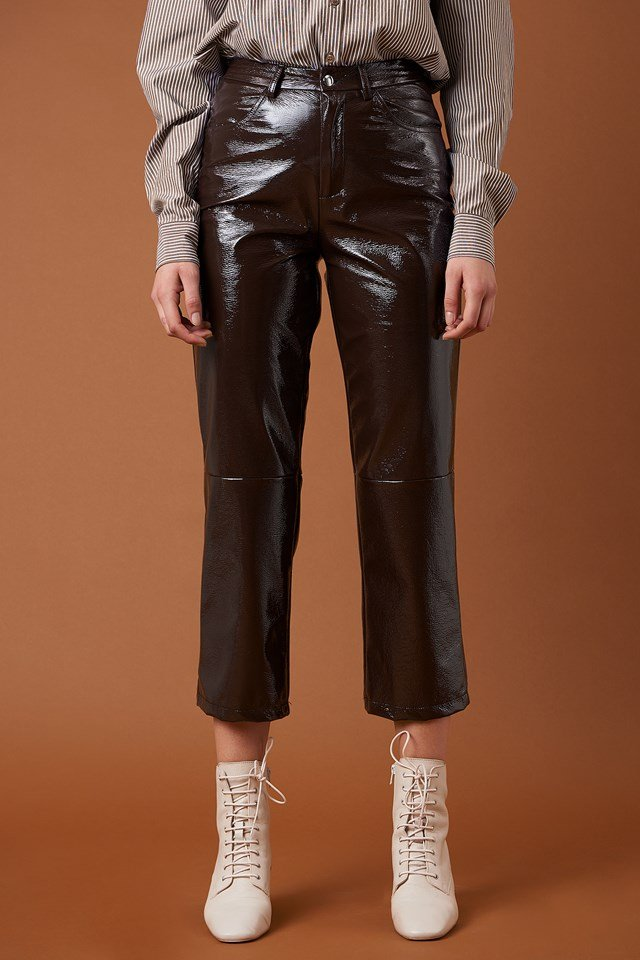 Cropped Patent Pants Dark Brown