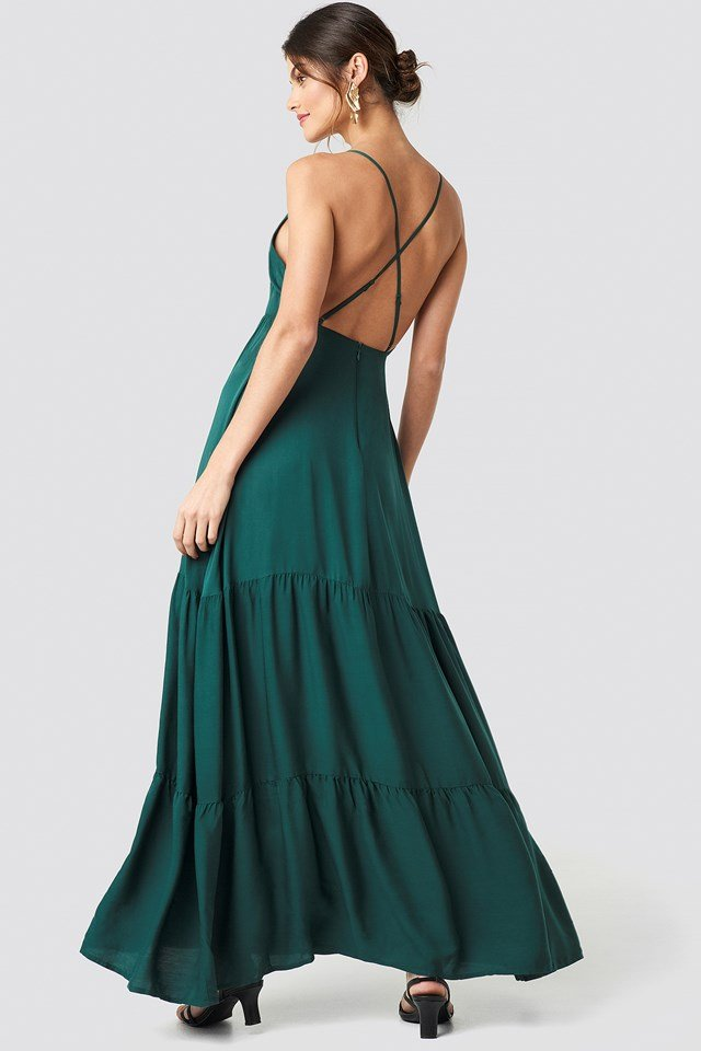 Cross Back Flowy Maxi Dress Dark Green