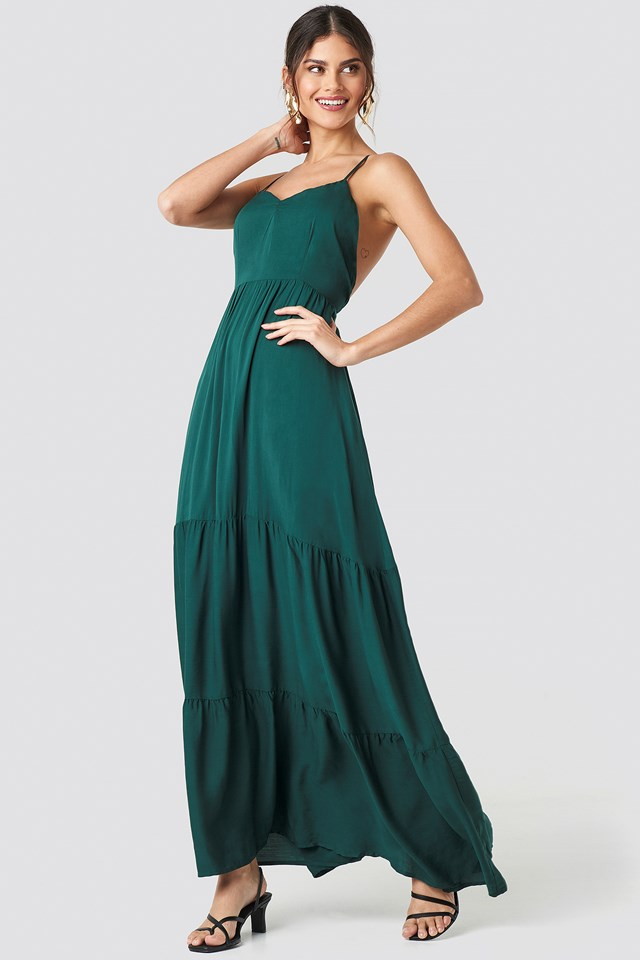 Cross Back Flowy Maxi Dress Dark Green
