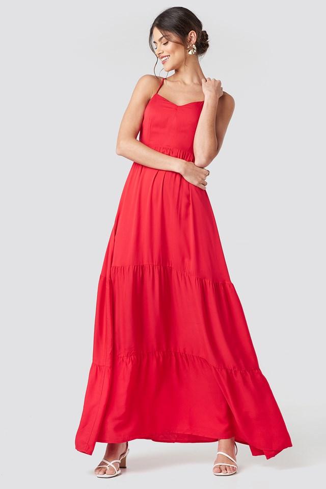 Cross Back Flowy Maxi Dress Red