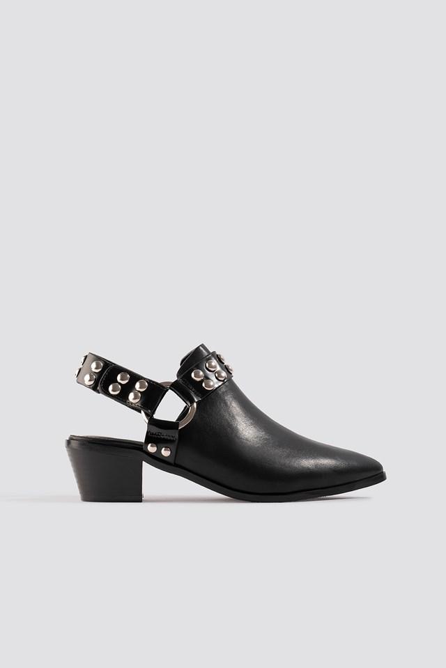 Cut Out Cowboy Ankle Boots Black