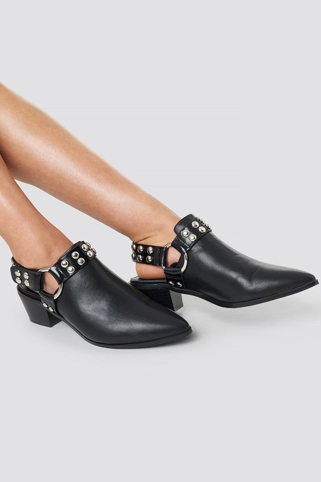 Cut Out Cowboy Ankle Boots Black