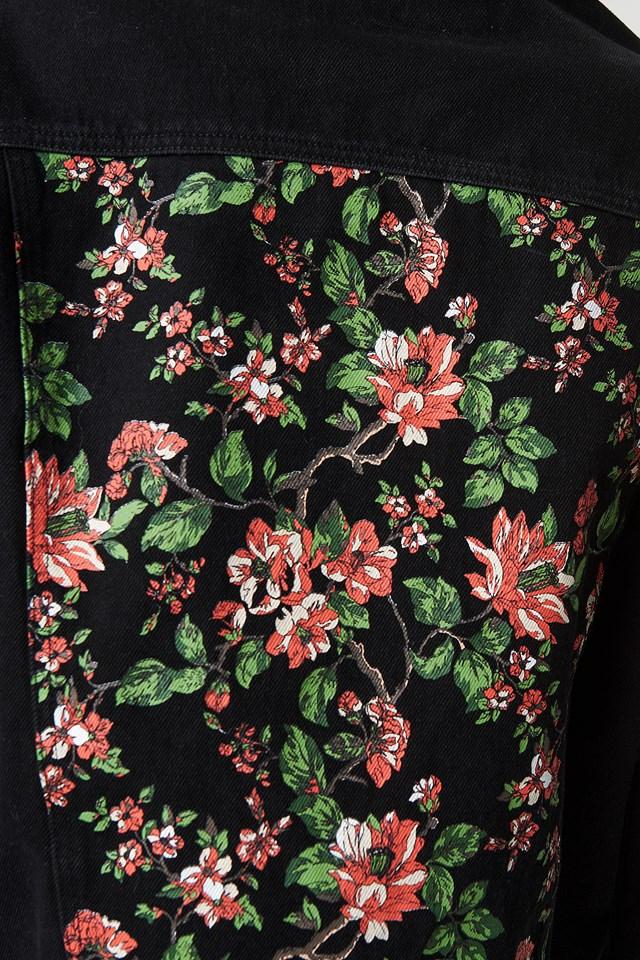 Dark Floral Denim Jacket Black