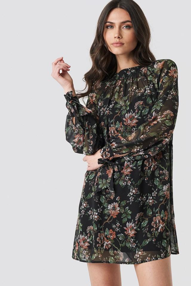 Dark Floral Print Tie Dress NA-KD.COM