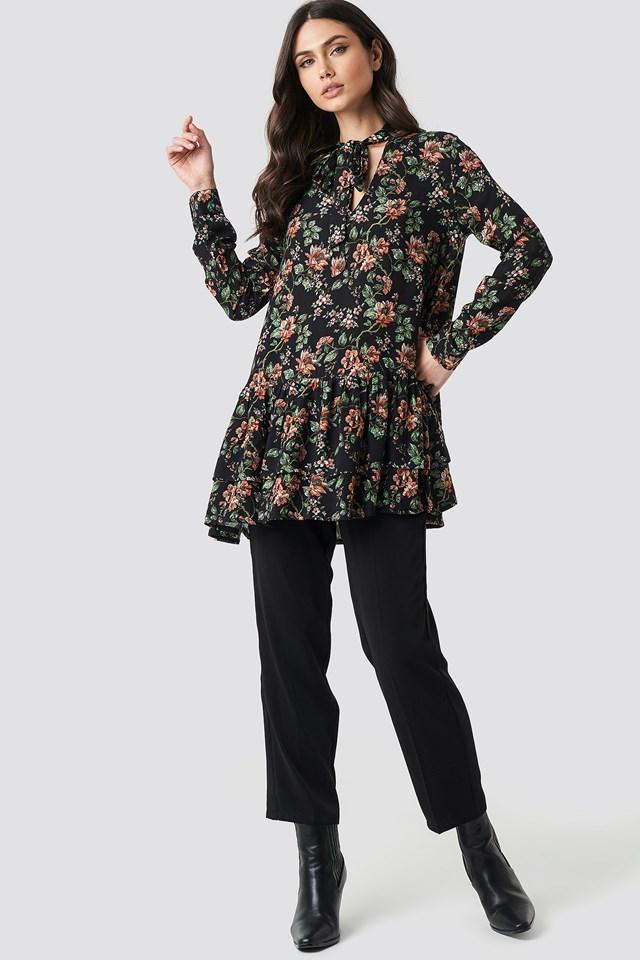Dark Floral Print Tunic NA-KD.COM