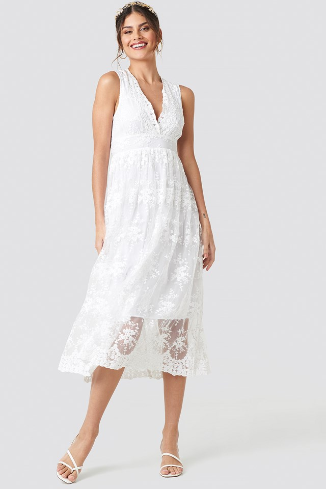 Deep V-Neck Delicate Lace Dress White