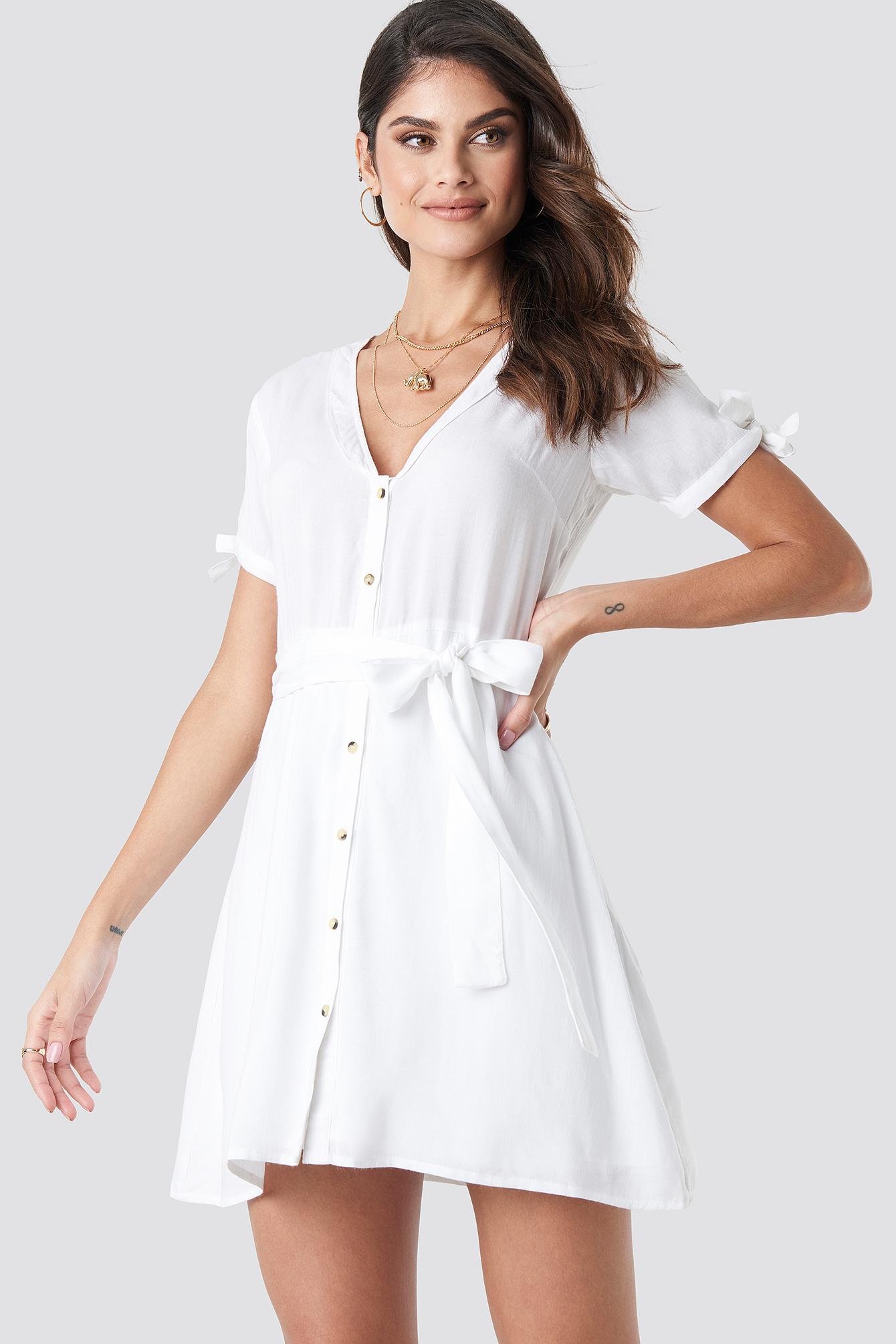 na-kd boho -  Deep V-Neck Knot Detail Dress - White
