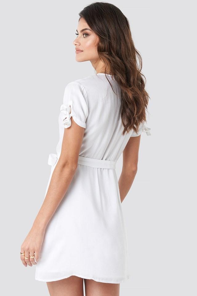 Deep V-Neck Knot Detail Dress White