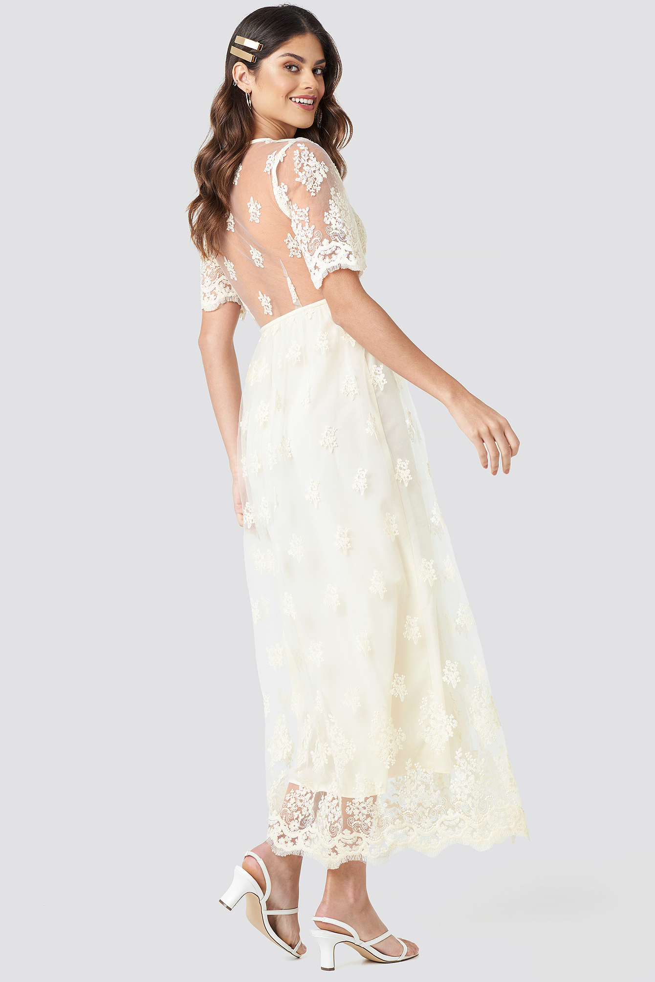 Delicate Flower Lace Maxi Dress NA-KD.COM