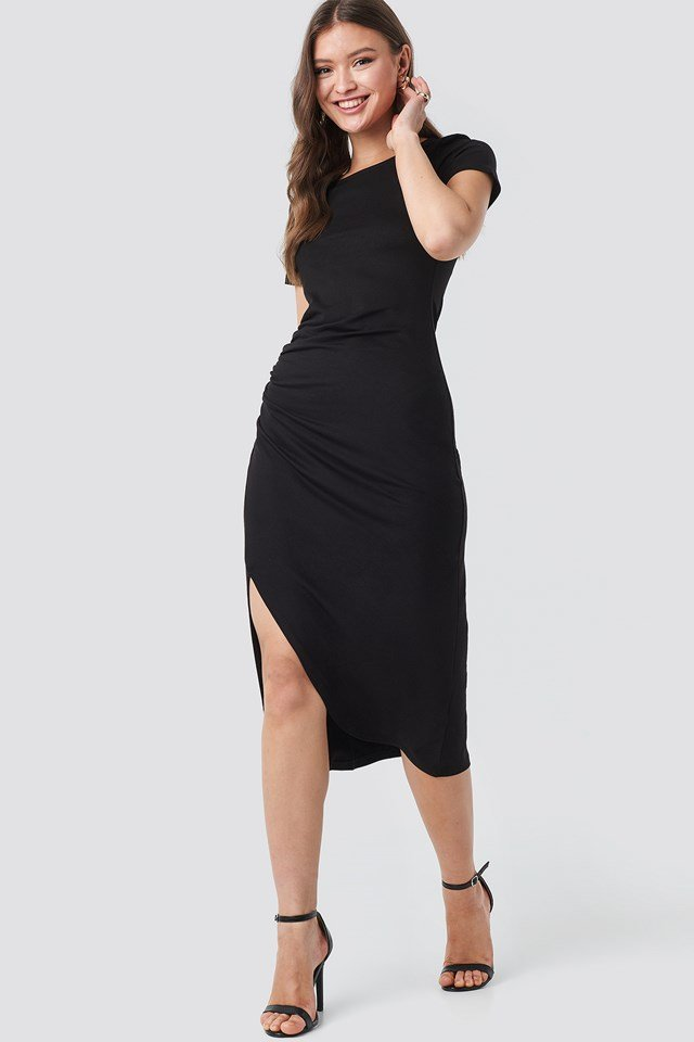 Draped Jersey Dress Black