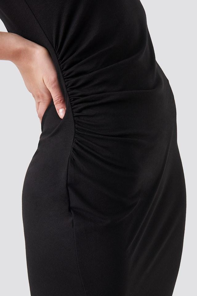 Draped Jersey Dress Black
