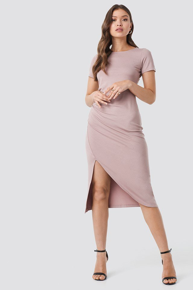 Draped Jersey Dress Dusty Light Pink