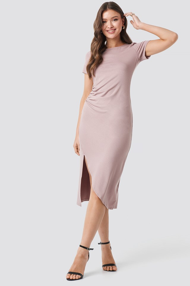 Draped Jersey Dress Dusty Light Pink