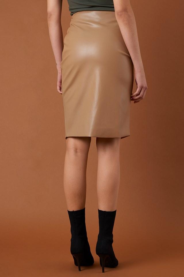 Spódnica drapowana PU Tan