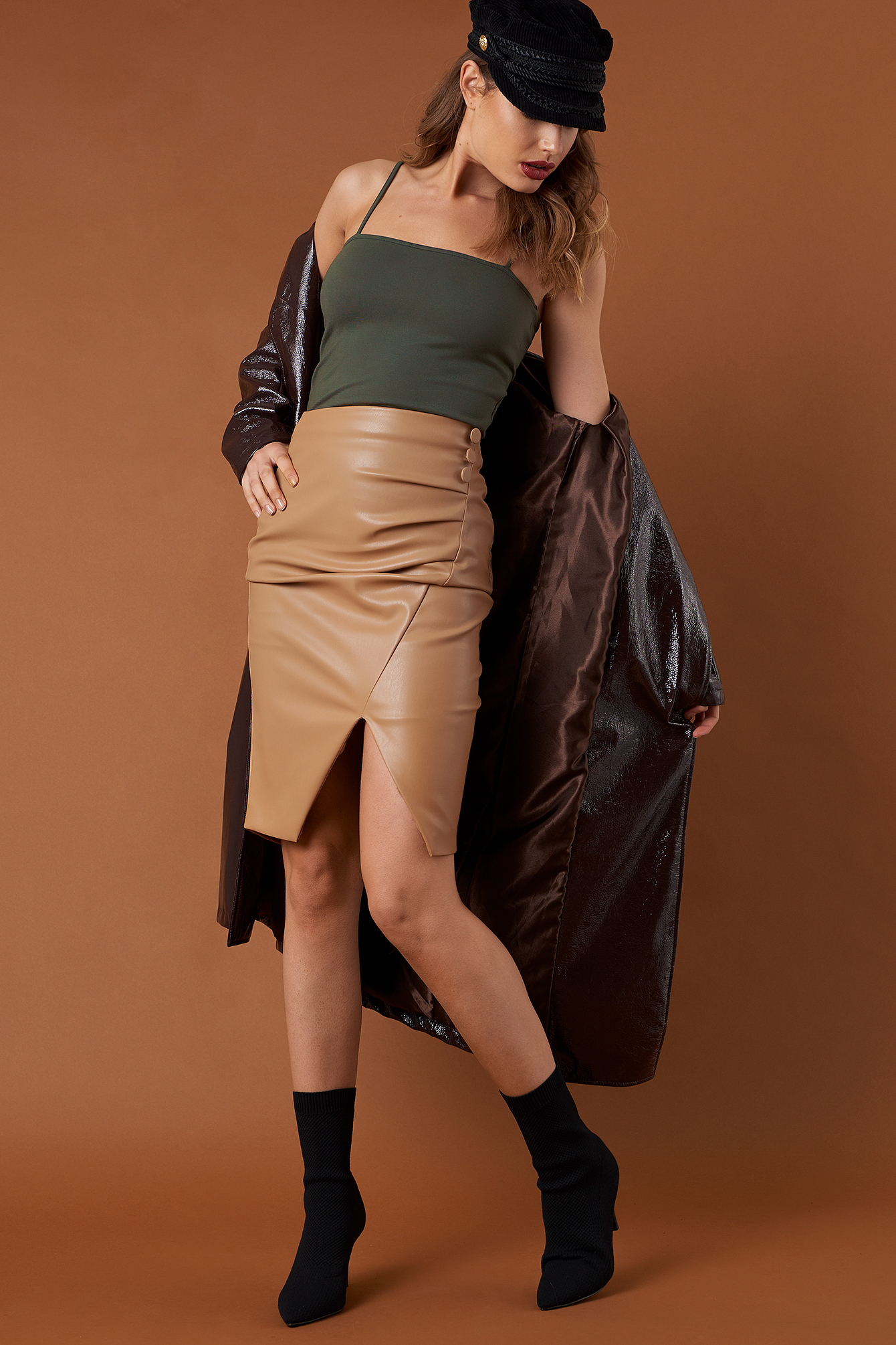 Draped PU Skirt NA-KD.COM