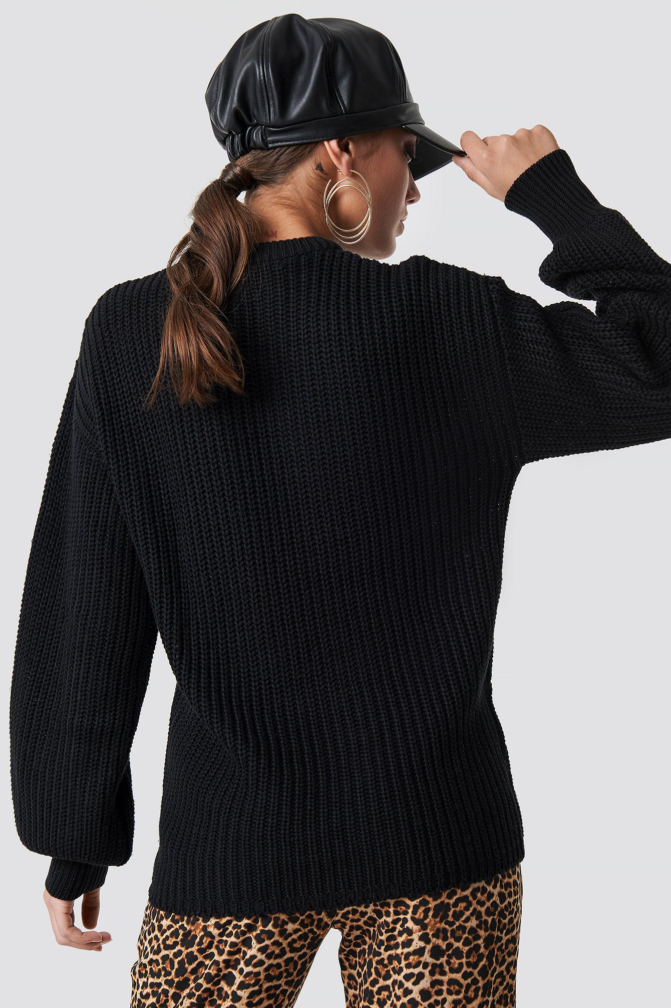 Dropped Shoulder Knitted Sweater NA-KD.COM