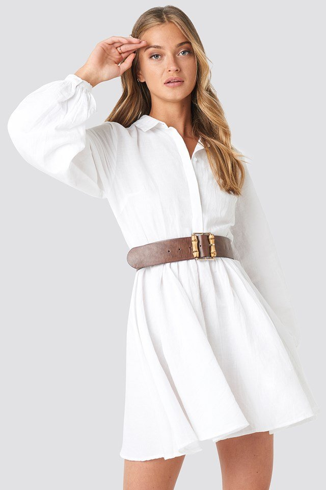 Elastic Waist Volume Sleeve Dress White