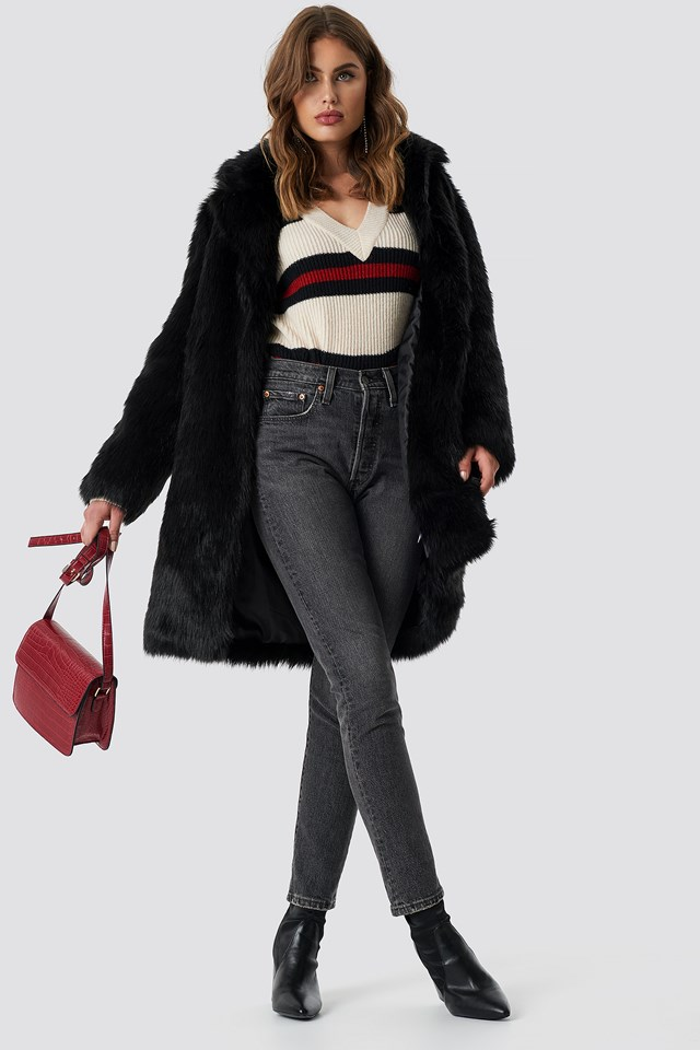 Faux Fur Collar Long Jacket Black