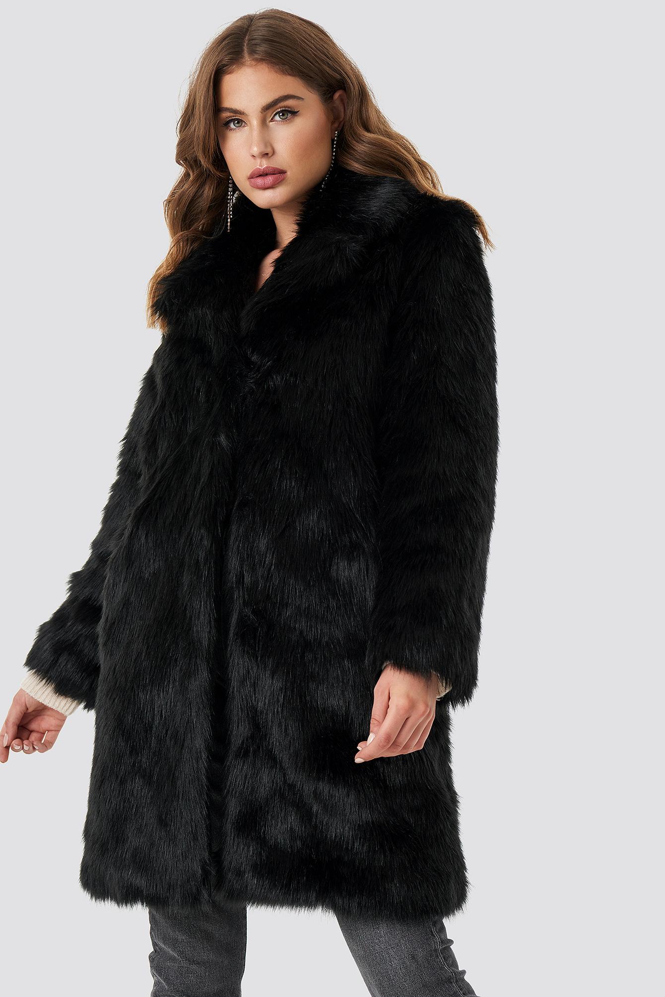 Faux Fur Collar Long Jacket NA-KD.COM