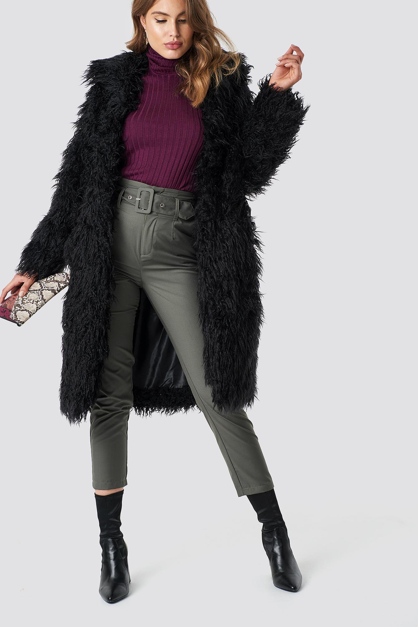 na-kd -  Faux Fur Long Jacket - Black