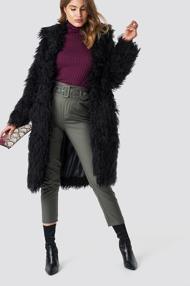 Faux Fur Long Jacket Black