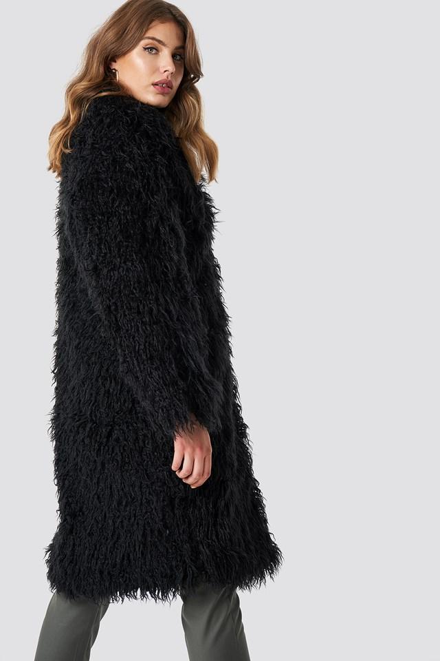 Faux Fur Long Jacket Black