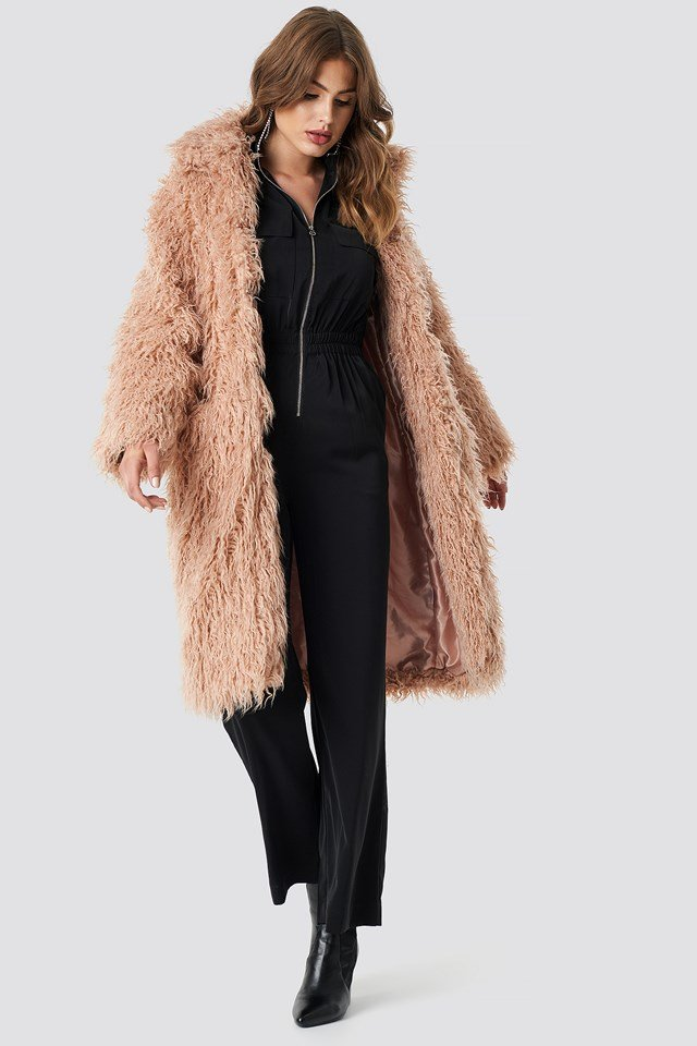 Faux Fur Long Jacket Pink