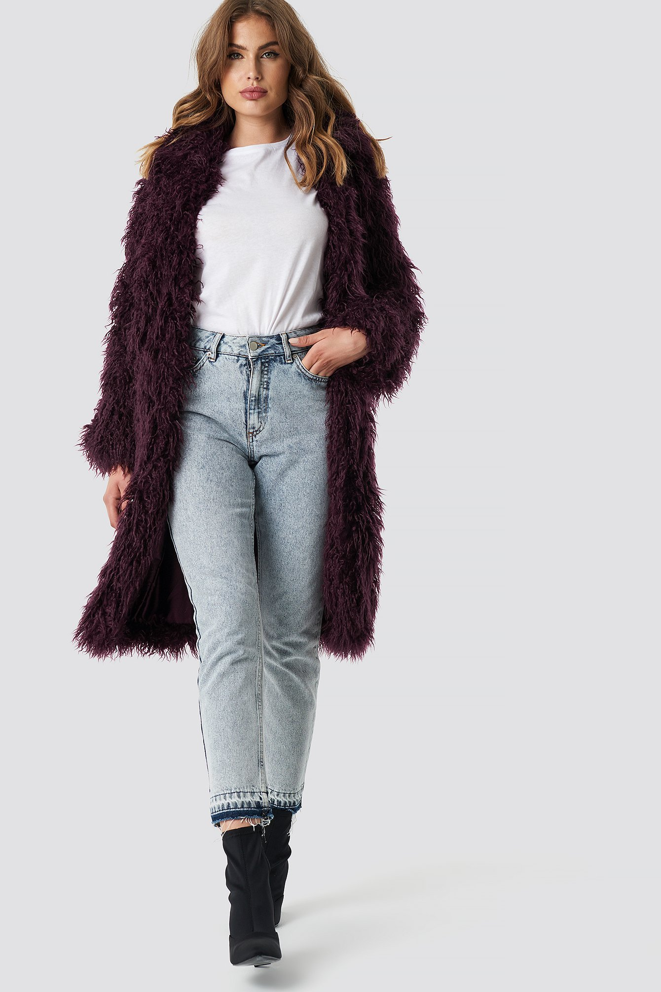 na-kd -  Faux Fur Long Jacket - Purple