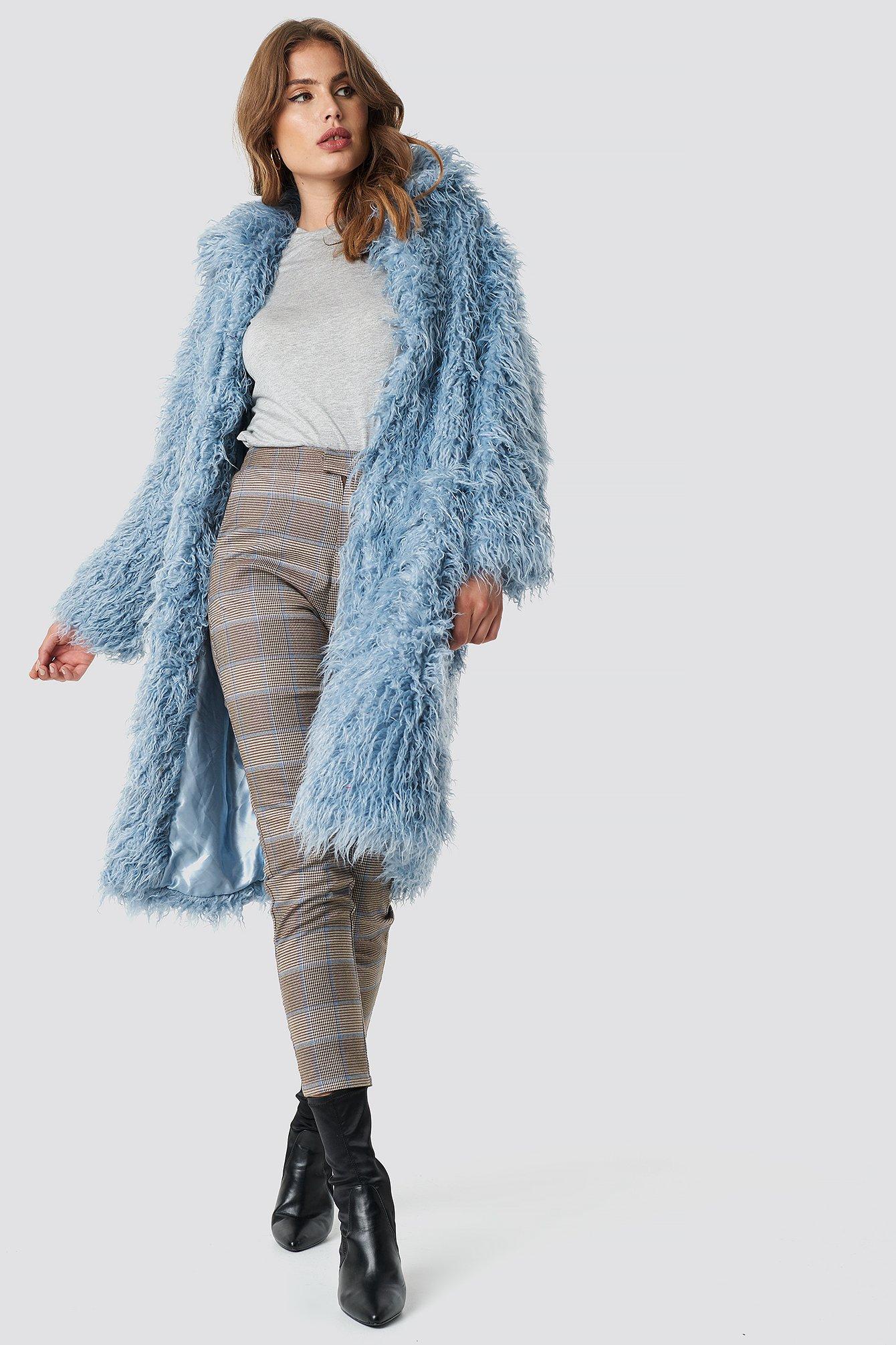 na-kd -  Faux Fur Long Jacket - Blue