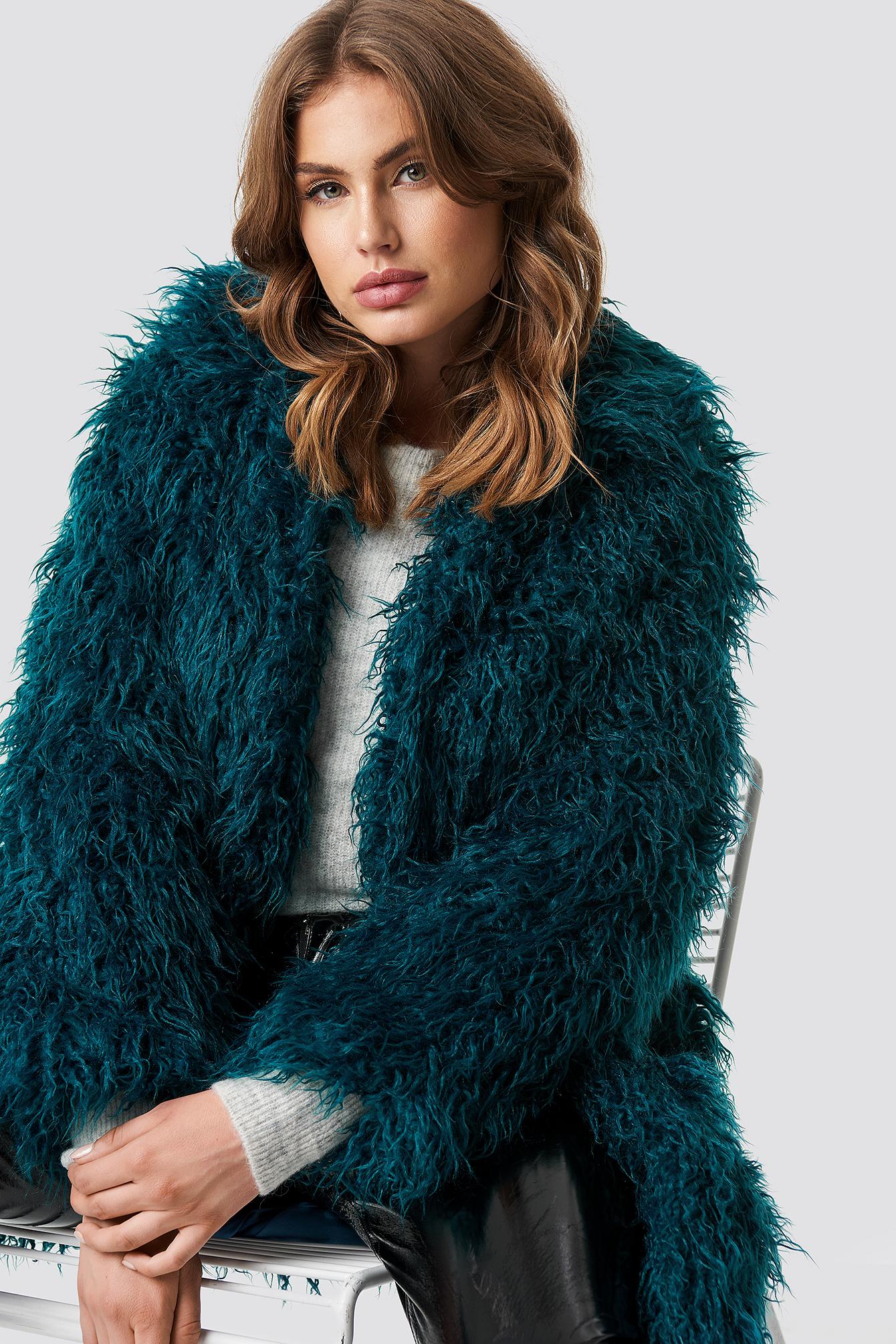 na-kd -  Faux Fur Long Jacket - Green
