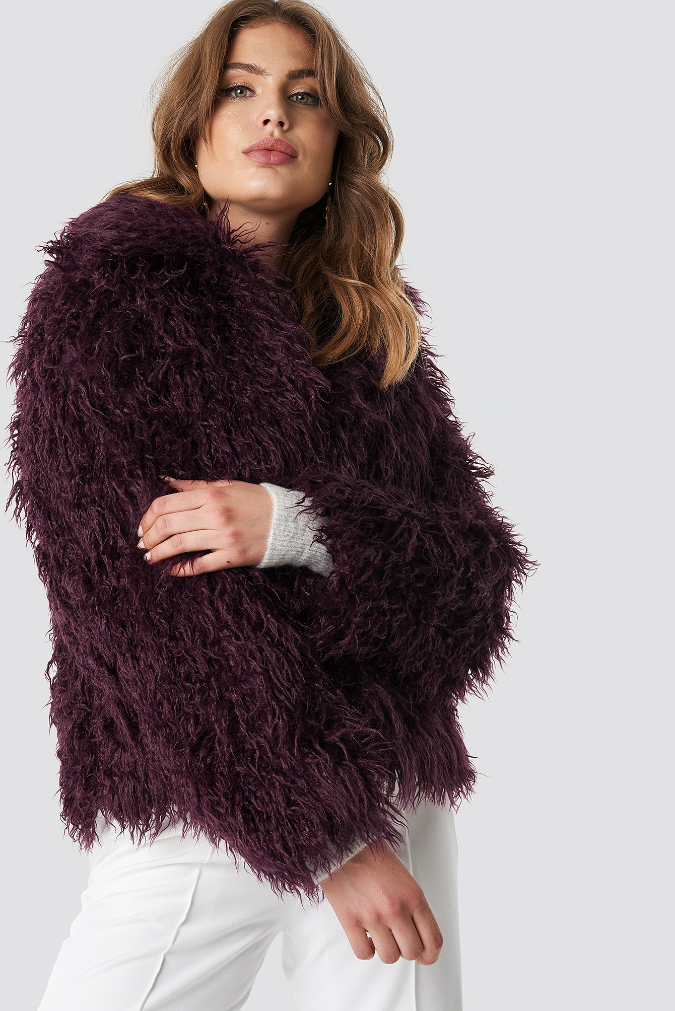 na-kd -  Faux Fur Short Jacket - Purple