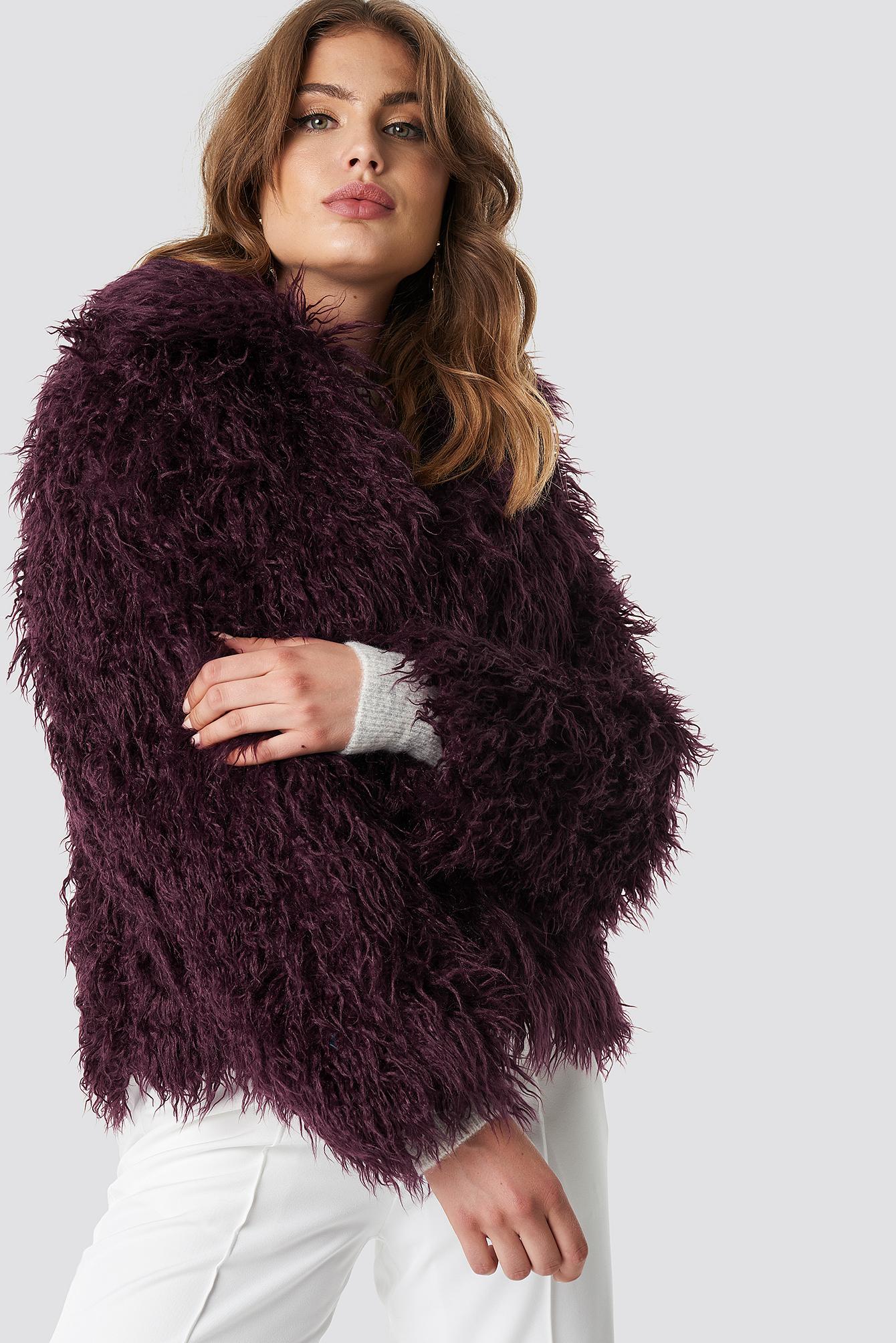 na-kd -  Faux Fur Short Jacket - Purple