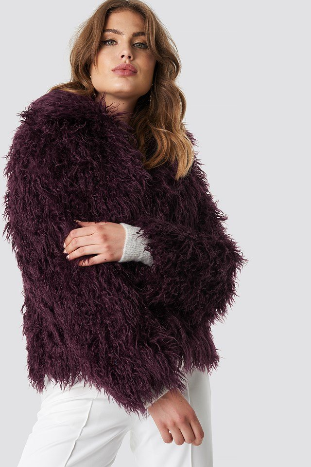 Faux Fur Short Jacket Burgundy
