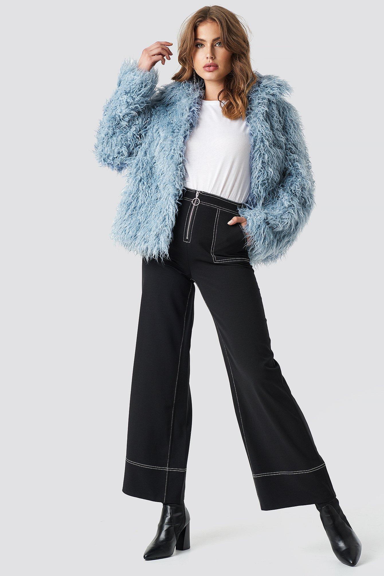 na-kd -  Faux Fur Short Jacket - Blue