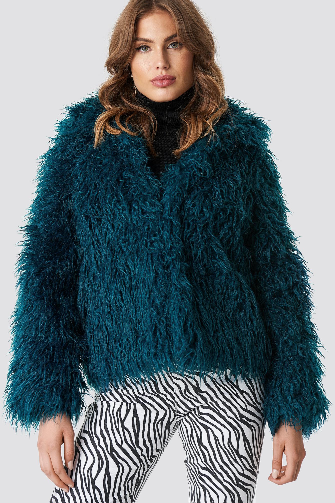 Na-Kd Faux Fur Short Jacket Green