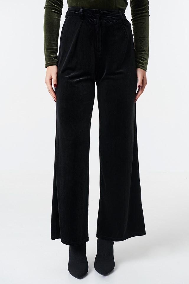 Flared Velvet Pants Black