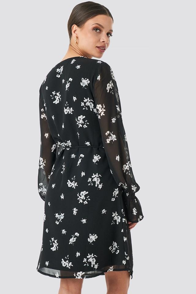 Floral Printed Lace Detailed Dress Black/White Flower Print