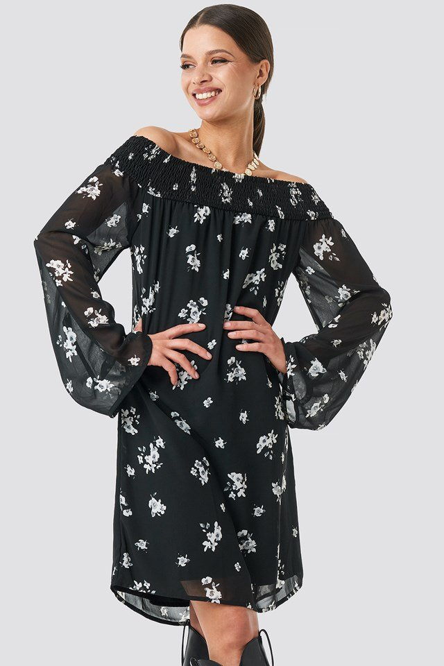 Floral Printed Off shoulder Dress Black/White Flower Print