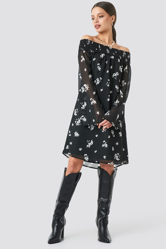Floral Printed Off shoulder Dress Black/White Flower Print