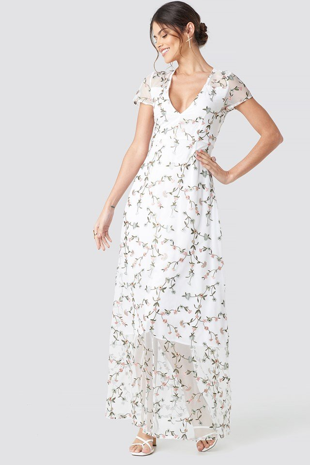 Flower Applique Sheer Maxi Dress White