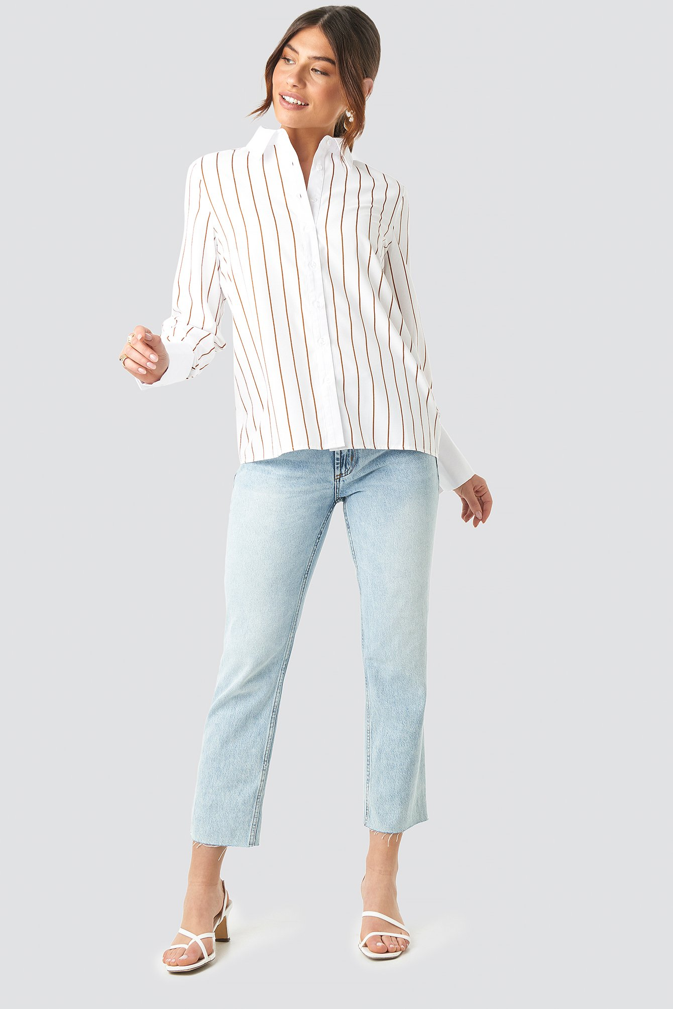 Fold Up Cuff Striped Shirt NA-KD.COM