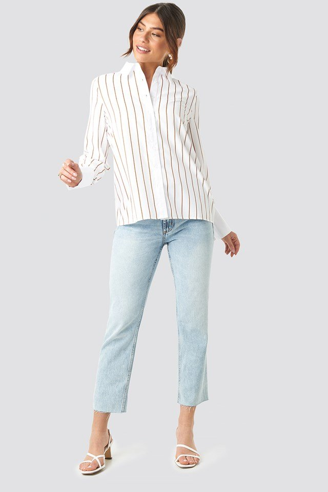 Fold Up Cuff Striped Shirt White/Brown Stripe