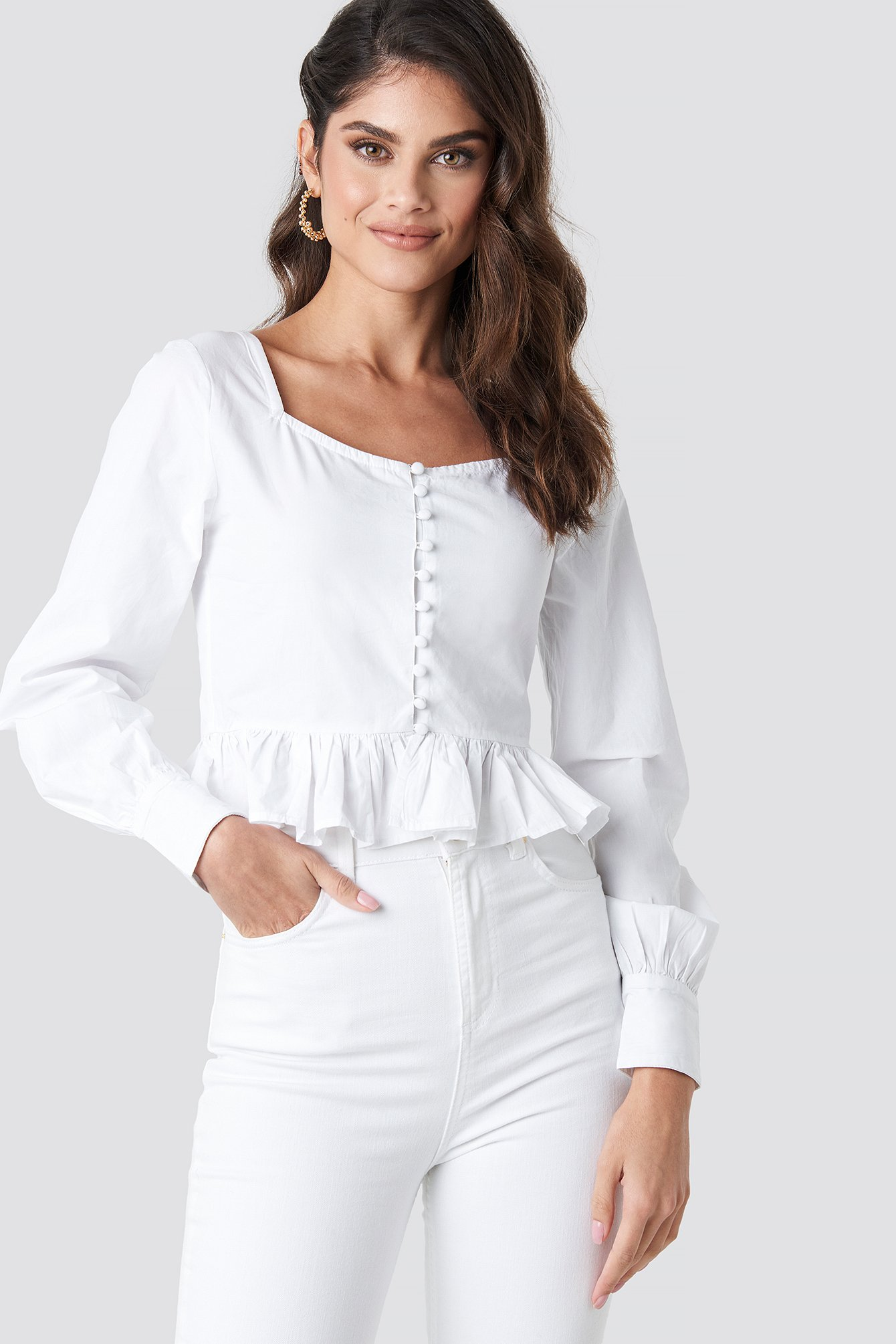 na-kd trend -  Frill Detailed Button Up Blouse - White