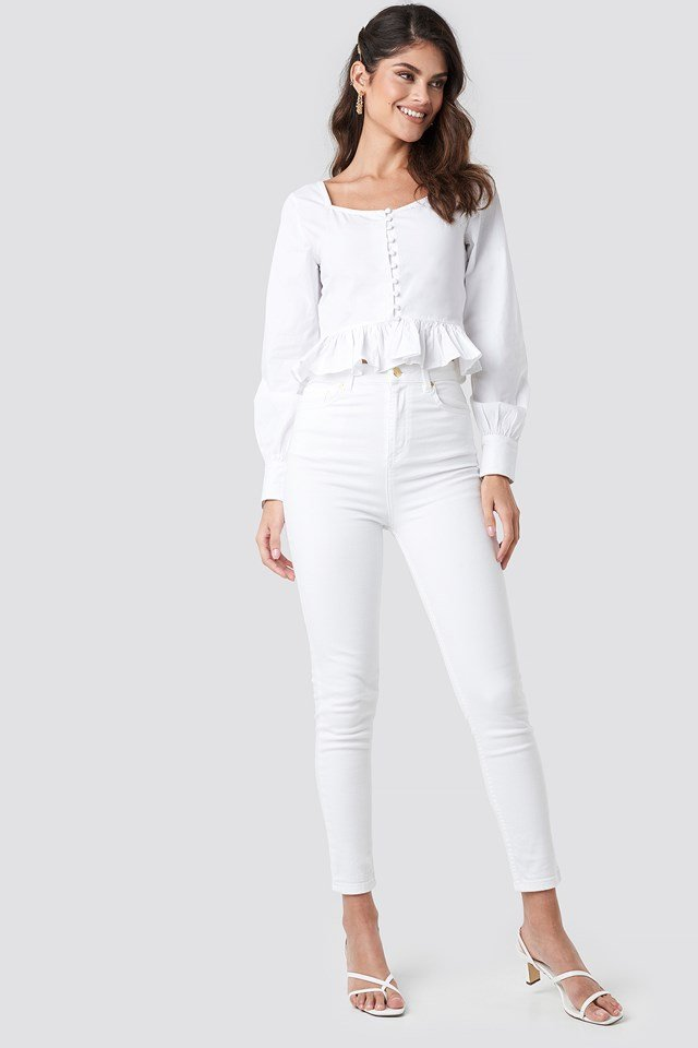 Frill Detailed Button Up Blouse White